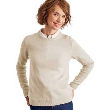 Clothing Women Jumpers Woolovers Lambswool Crew Neck Jumper BEIGE