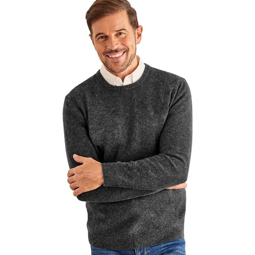 Clothing Men Jumpers Woolovers Lambswool Crew Neck Jumper Grey