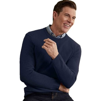 Clothing Men jumpers Woolovers Lambswool Crew Neck Jumper Blue