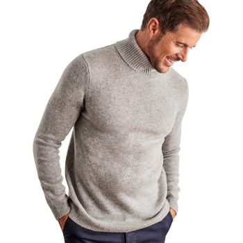 Clothing Men jumpers Woolovers Lambswool Polo neck Jumper Grey