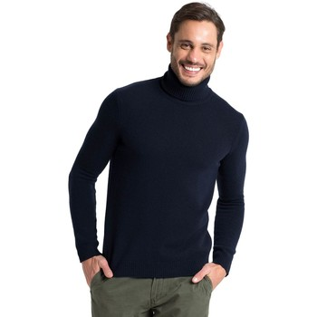 Clothing Men jumpers Woolovers Lambswool Polo neck Jumper Blue