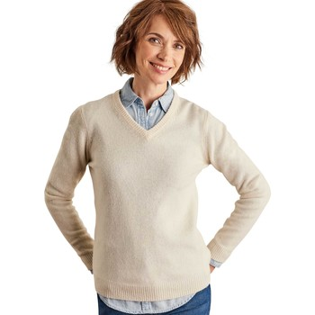 Clothing Women Jumpers Woolovers Lambswool V Neck Jumper BEIGE