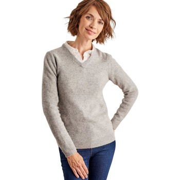 Clothing Women Jumpers Woolovers Lambswool V Neck Jumper Grey