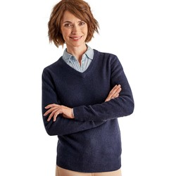 Clothing Women Jumpers Woolovers Lambswool V Neck Jumper Blue