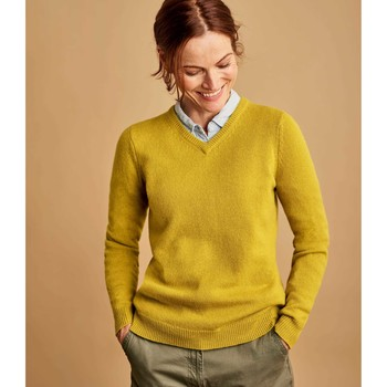 Clothing Women jumpers Woolovers Lambswool V Neck Jumper Yellow