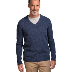 Clothing Men Jumpers Woolovers Lambswool V Neck Knitted Sweater Blue