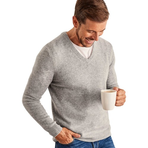 Clothing Men Jumpers Woolovers Lambswool V Neck Knitted Sweater Grey