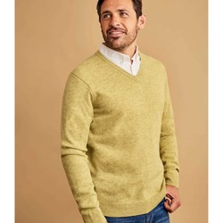 Clothing Men jumpers Woolovers Lambswool V Neck Knitted Sweater Green