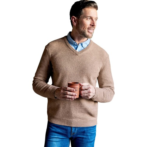 Clothing Men Jumpers Woolovers Lambswool V Neck Knitted Sweater Brown