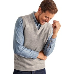 Clothing Men jumpers Woolovers Lambswool Knitted Slipover Grey
