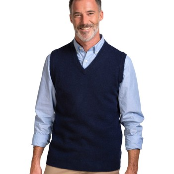 Clothing Men Jumpers Woolovers Lambswool Knitted Slipover Blue