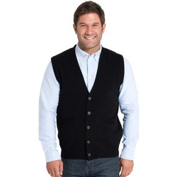 Clothing Men Jackets / Cardigans Woolovers Lambswool Knitted Waistcoat Black