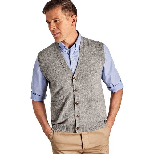 Clothing Men Jackets / Cardigans Woolovers Lambswool Knitted Waistcoat Grey