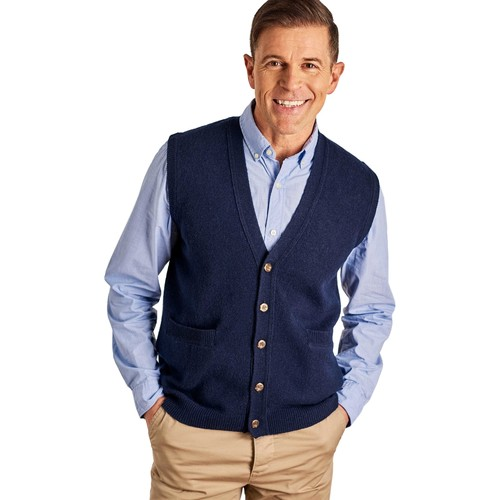 Clothing Men Jackets / Cardigans Woolovers Lambswool Knitted Waistcoat Blue