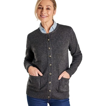 Clothing Women Jackets / Cardigans Woolovers Lambswool Crew Neck Cardi Grey