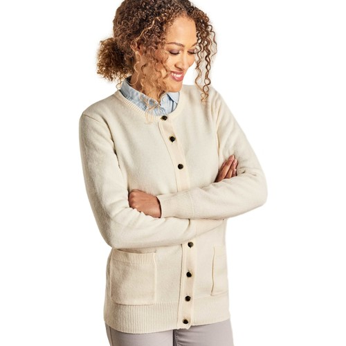 Clothing Women Jackets / Cardigans Woolovers Lambswool Crew Neck Cardi BEIGE