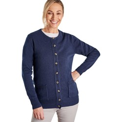 Clothing Women Jackets / Cardigans Woolovers Lambswool Crew Neck Cardi Blue