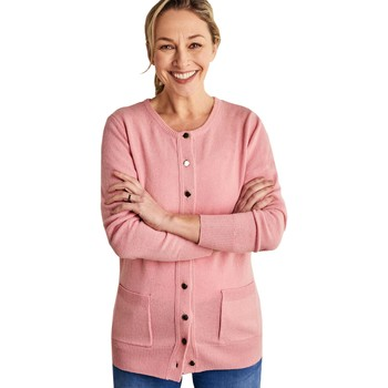 Clothing Women Jackets / Cardigans Woolovers Lambswool Crew Neck Cardi Pink