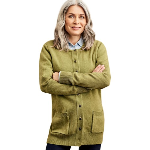 Clothing Women Jackets / Cardigans Woolovers Lambswool Crew Neck Cardi Green
