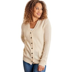 Clothing Women Jackets / Cardigans Woolovers Lambswool V Neck Cardigan BEIGE