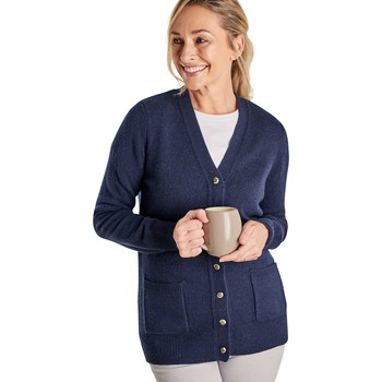 Clothing Women Jackets / Cardigans Woolovers Lambswool V Neck Cardigan Blue