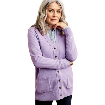 Clothing Women Jackets / Cardigans Woolovers Lambswool V Neck Cardigan Purple