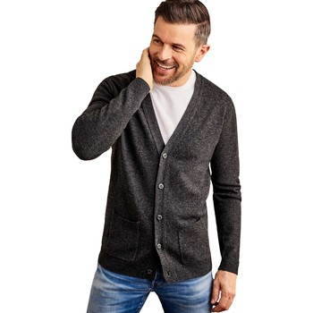 Clothing Men Jackets / Cardigans Woolovers Lambswool V Neck Cardigan Grey