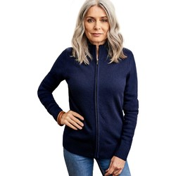 Clothing Women Jackets / Cardigans Woolovers Lambswool Fitted Zip Thru Cardigan Blue