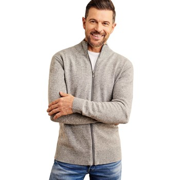 Clothing Men Jackets / Cardigans Woolovers Lambswool Lincoln Zipper Cardigan Grey