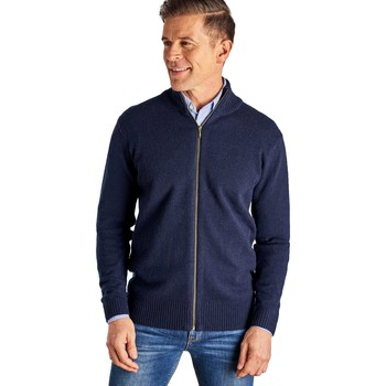 Clothing Men Jackets / Cardigans Woolovers Lambswool Lincoln Zipper Cardigan Blue