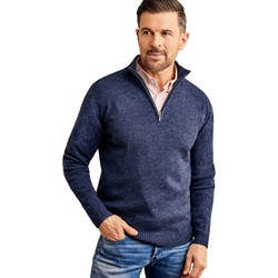 Clothing Men Jumpers Woolovers Lambswool Zip Neck Jumper Blue