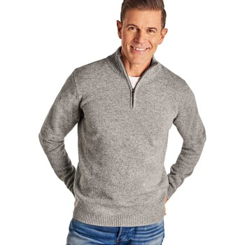 Clothing Men jumpers Woolovers Lambswool Zip Neck Jumper Grey
