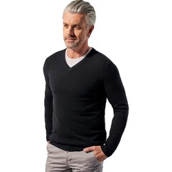 Clothing Men Jumpers Woolovers Pure Cashmere V Neck Jumper Black