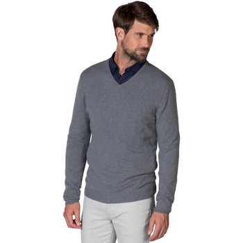 Clothing Men Jumpers Woolovers Pure Cashmere V Neck Jumper Blue
