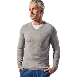 Clothing Men Jumpers Woolovers Pure Cashmere V Neck Jumper Grey
