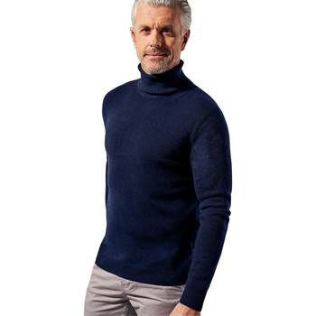 Clothing Men Jumpers Woolovers Pure Cashmere Polo Neck Jumper Blue