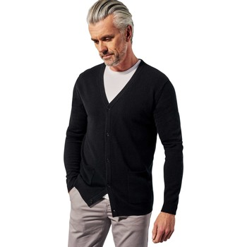 Clothing Men Jackets / Cardigans Woolovers Pure Cashmere V Neck Cardigan Black