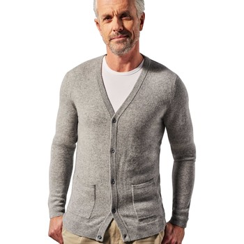 Clothing Men Jackets / Cardigans Woolovers Pure Cashmere V Neck Cardigan Grey