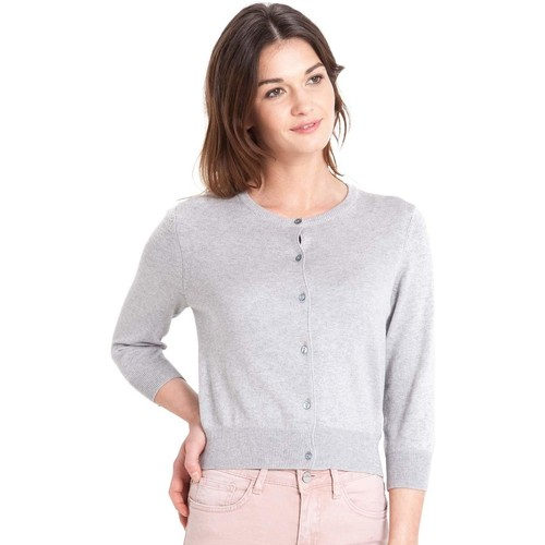 Clothing Women Jackets / Cardigans Woolovers Silk and Cotton 3/4 Sleeve Crop Cardigan Grey