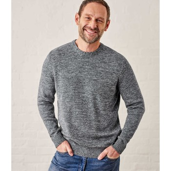 Clothing Men jumpers Woolovers 100% Cotton Crew Neck Jumper Grey