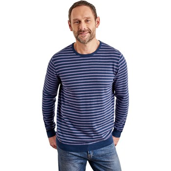 Clothing Men jumpers Woolovers Combed Cotton Crew Neck Jumper Blue