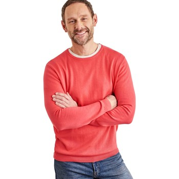 Clothing Men Jumpers Woolovers Combed Cotton Crew Neck Jumper Orange