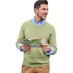 Clothing Men jumpers Woolovers Combed Cotton V Neck Jumper Green