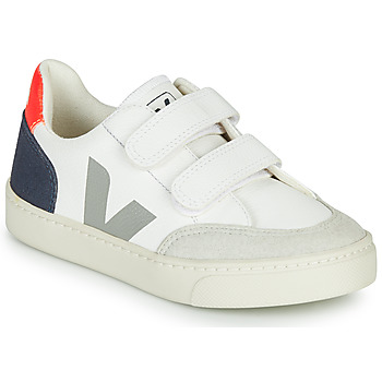 Shoes Children Low top trainers Veja SMALL-V-12-VELCRO White / Blue / Grey / Red