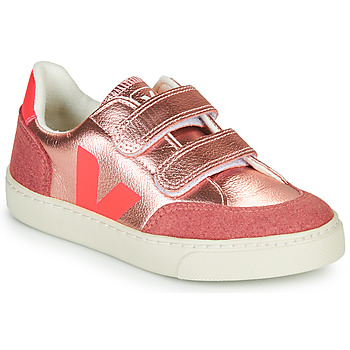 Shoes Girl Low top trainers Veja SMALL-V-12-VELCRO Gold / Pink
