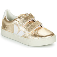 Shoes Girl Low top trainers Veja SMALL-ESPLAR-VELCRO Gold / White