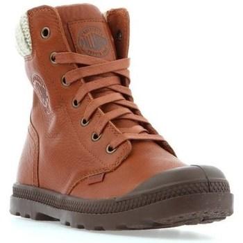 Shoes Women Mid boots Palladium Pampa HI Knit LP Brown