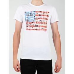 Clothing Men Short-sleeved t-shirts Wrangler S/S Modern Flag Tee W7A45FK12 white