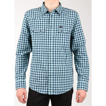 Clothing Men Long-sleeved shirts Lee Rider Shirt L851ICSB green, navy