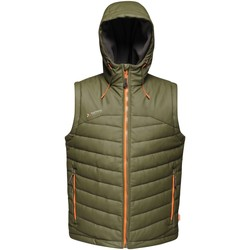 Clothing Men Jackets / Cardigans Professional CALCULATE Insulated Bodywarmer Dark Khaki Green Green
